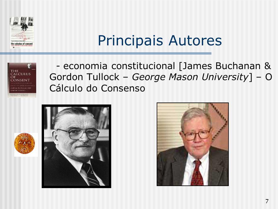 Principais Autores - economia constitucional [James Buchanan & Gordon Tullock – George Mason University] – O Cálculo do Consenso.